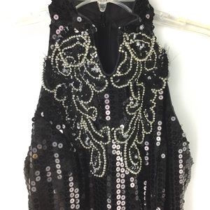 Silver Beaded & black sequined formal sheath dress